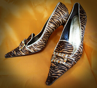 Rare VINTAGE late 60s style REAL LEATHER heels chick SHOES size 38 UK 4,5-5
