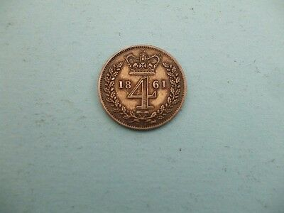 1861 Silver Victorian Four Pence Good Grade Coin.used
