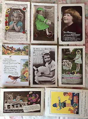 Selection of Birthday greetings to children - some REAL PHOTO POSTCARDS