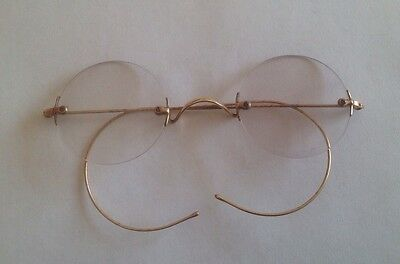 Vintage Gold Coloured Wired Round Glasses With Lenses Spectacles B&L SQ