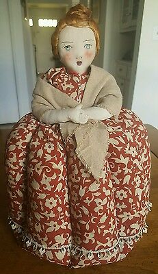Large Antique Hand Made Tea Cozy - Young Lady / Girl w/ Red Hair - Poland