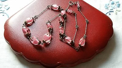 Czech Bi-Coloured Pink And Clear Glass Bead Necklace 1930s Style