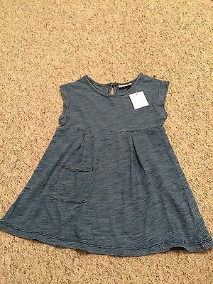 Girls Next Blue Striped 100% Cotton Jersey Casual Dress Age 4-5 Years BNWT NEW