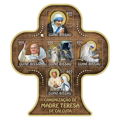Guinea-Bissau MNH 2016 Mother Teresa Canonization Pope Francis 5v M/S Stamps