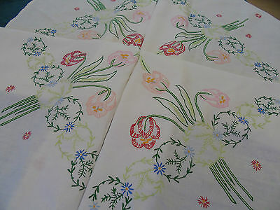 "Vintage Hand Embroidered Table Cover...Tall Tulips ...50"" x 50"""