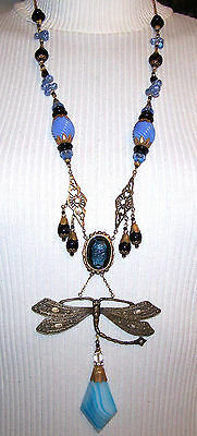 VINTAGE OLD CZECH BLUE and BLACK gl  beads NECKLACE & DRAGONFLY PENDANT