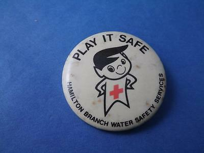 Walter Safety Mascot Hamilton Canada Red Cross Button Vintage Pinback Collector