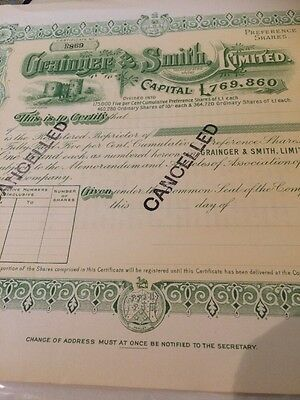 England - Grainger & Smith, Limited Stock Certificate Dudley Castle Vignette