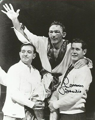 Signed Black And White Photo Of Carmen Basilio After Taking Title From Sugar Ray