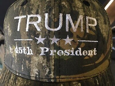 TRUMP 45th PRESIDENT CAMO EMBROIDERED MOSSY OAK  CAP HAT