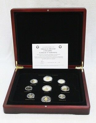 Silver & Gold Plated - The Predecimals of George VI Set in Wooden Box