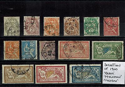 FRANCE 1900 SELECTION OF 14 x DIFFERENT USED 'BLANC' 'MOUCHON' & 'MERSON' STAMPS