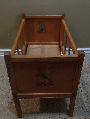 Antique Wooden Doll CRIB with LAMB and ELEPHANT Decals