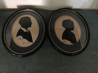 Vintage Pair Of Signed Silhouettes Boy Girl 1934