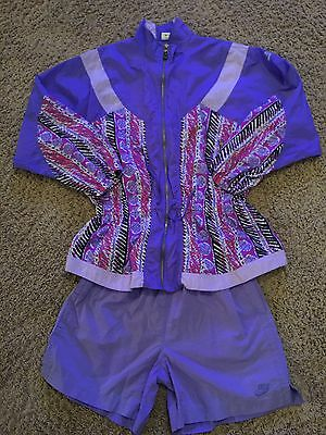 VTG Nike Womens Pastel Purples/blues Windbreaker Track Suit Jacket Sz L Hip Hop