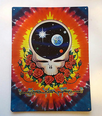 """*RaRe* Vintage THE GRATEFUL DEAD """"Space Your Face"""" Roses METAL POSTER SIGN"""