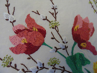 Vintage Hand Embroidered CUSHION COVER,magnolia blossoms,crocus,pussy willow