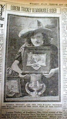 9 BEST 1924 Cheyenne WYOMING newspapers w LOCAL coverage of FRONTIER DAYS RODEO