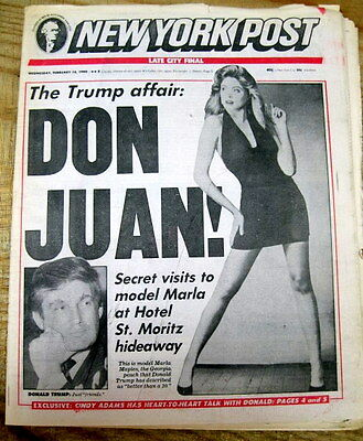 Best 1990 NY Post newspaper DONALD TRUMP AFFAIR w MARLA MAPLES is first EXPOSED