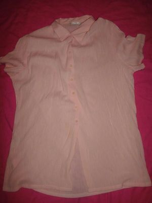 Ladies Size 16 Retro Apricot Shirt / Blouse By Marks & Spencers