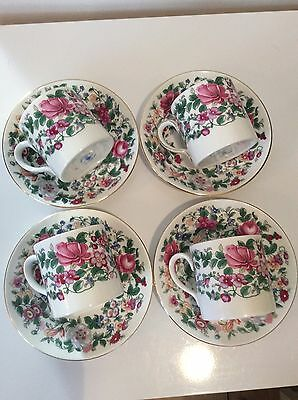 """Crown Staffordshire """"Thousand Flowers"""" Coffee Can Demitasse Cup & Saucer x 4 VGC"""
