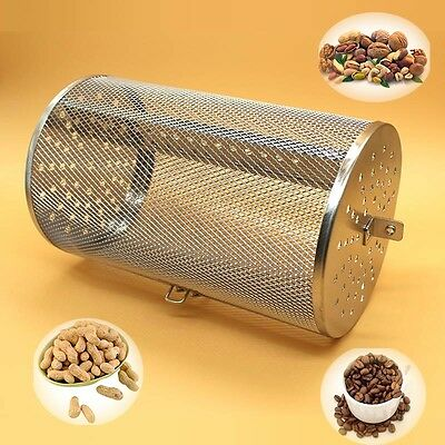 Rotisserie Grill Basket steel oven green coffee roaster filter bean peanuts BBQ