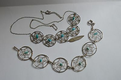Native American 925 Silver Turquoise Dream Catcher Necklace + Sterling Bracelet