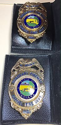 Two Carmel (In) Fire Dept. Honorary Fireman Badges R. & N. IRSAY minty L@@K!!