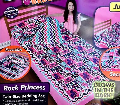 Zipit Rock Princess Music Peace Zip Up Easy To Make Bed Twin Bedding Set Ason Tv