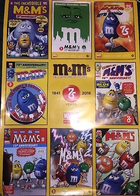 Marvel M&M's Superhero M&M 75th Anniversary Promo Poster Green Blue Art NYCC NEW