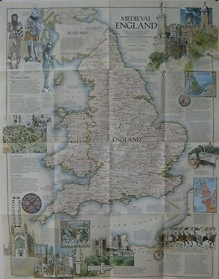 Map MEDIEVAL ENGLAND Wales Castles Cathedrals Battle Sites Monasteries Palaces