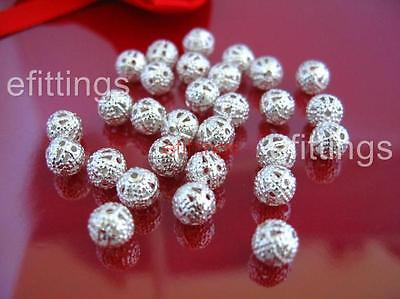 Wholesale 200x Silver Plated Hollow Filigree Round Spacer Beads 6mm