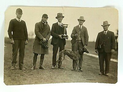 Vintage - Photo - Men With Greyhound & Winning Cup - Davidson & Wyman