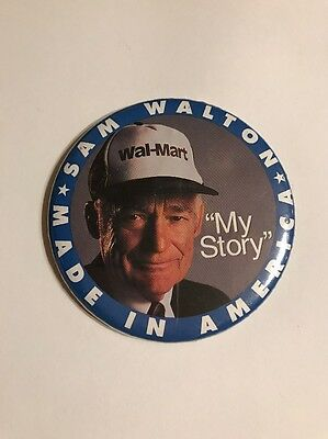 "Sam Walton Made In America My Story Wal-mart Pin Pinback Button 3"" VTG"