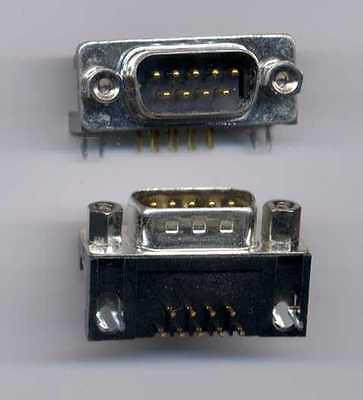 9 Pin Male D-Sub Connector - Right Angle PC Board mount - with screw connectors