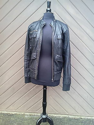 "Ladies ""Retro Style"" Leather Look Bomber/Biker Jacket by H&M Size: Small"