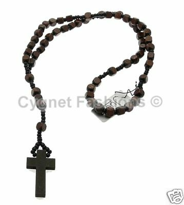 Brown Wooden Rosary Beads Necklace With Crucifix Cross