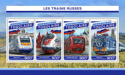 Togo 2016 MNH Russian Trains 4v M/S Sapsan Railways Stamps