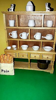 Quality Doll's House Pine Kitchen Dresser with White Ceramics.and accessories