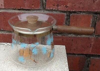 """Vintage Douglass Flameproof Glass Coffee Pot With Handle And Lid. """" Pinecone"""""""
