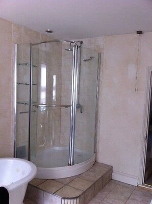 Used Shower Enclosure Walk In Corner Cubicle Tray+Waste + Bristan Shower