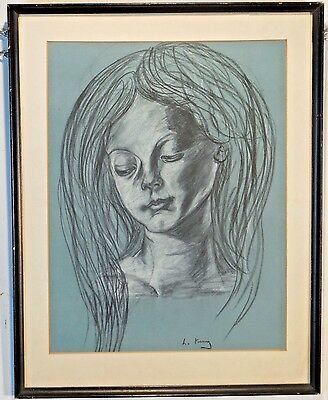Framed Sketch of a Woman artist's signature illegible