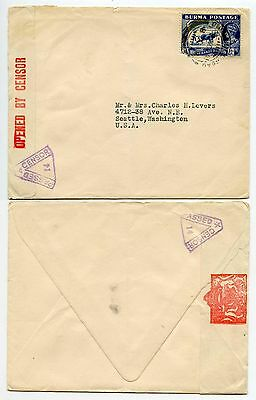 BURMA 1941 WW2 CENSOR 14 TRIANGULAR to USA SINGLE 3A 6p