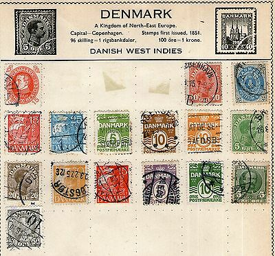 Denmark Stamp Collection on Old Album Page - Used