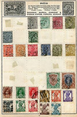 India Stamp Collection on Old Album Pages (2 Scans) -  Used