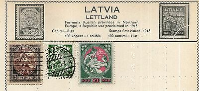 Latvia Stamp Collection on Old Album Page -  MH & Used