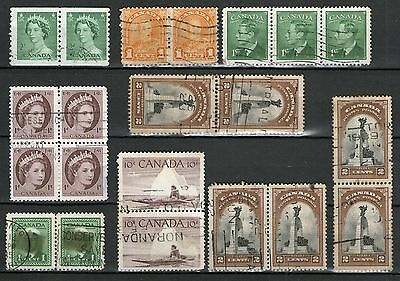 Canada: Block of 4/Strip of 3 + 7 Pairs (1 filler) - Used