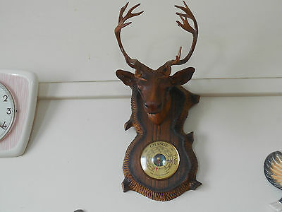 Vintage Barometer Stag Man Cave Black Forest Hunting Retro Wall Art