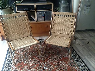 VinageTeak and rope folding chairs in the style of Hans Wegner