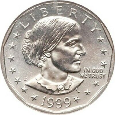 """1999-D Susan B Anthony Dollar US Mint Coin """"About Uncirculated"""" SBA"""